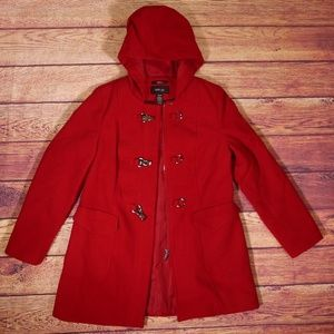 Style & Co. Petite SM Stretch Red Hood Jacket